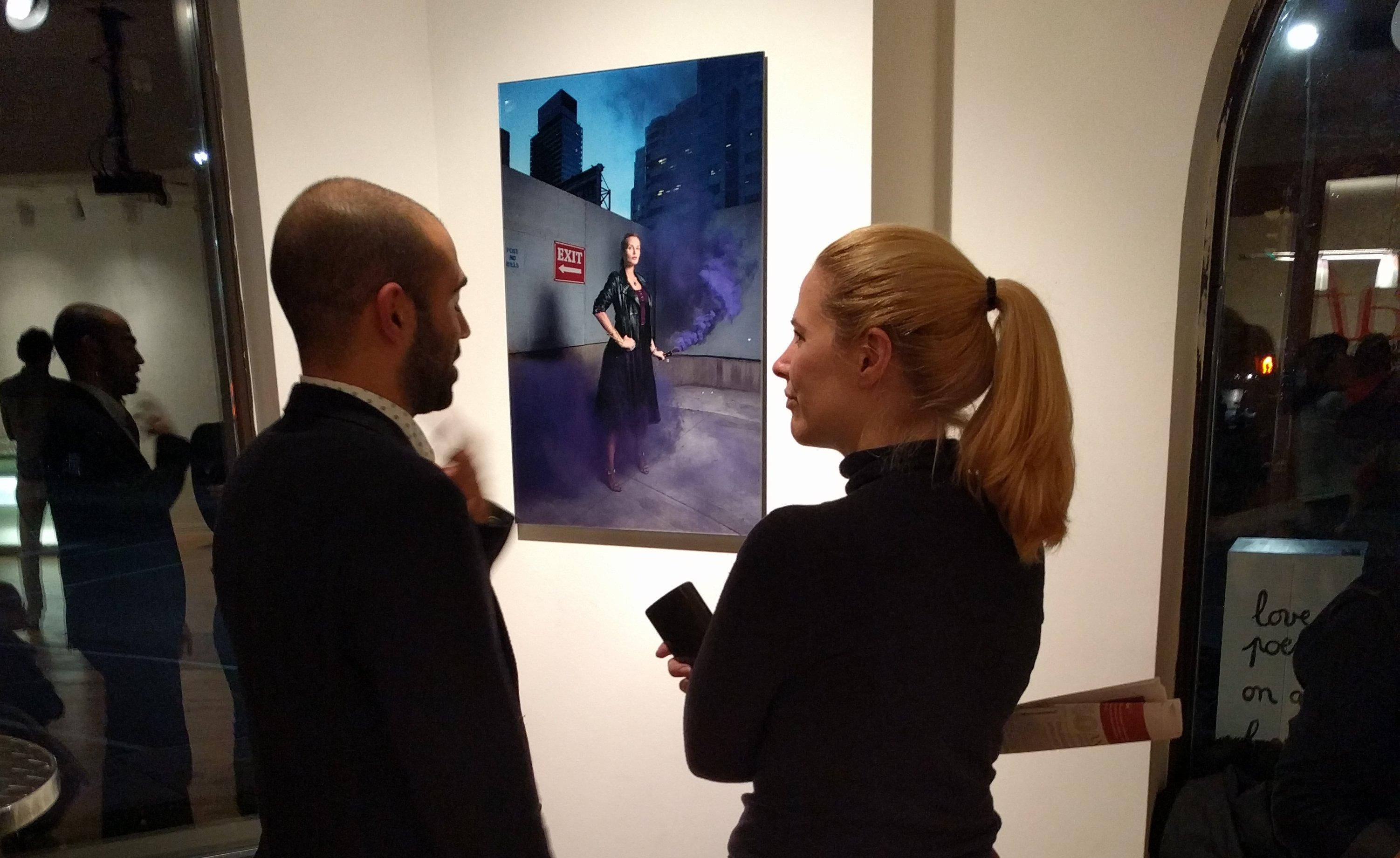 """Vernissage de """"Visages de cinéma"""" à l'AFT mercredi soir. (La photo de Julia Ducournau.)"""