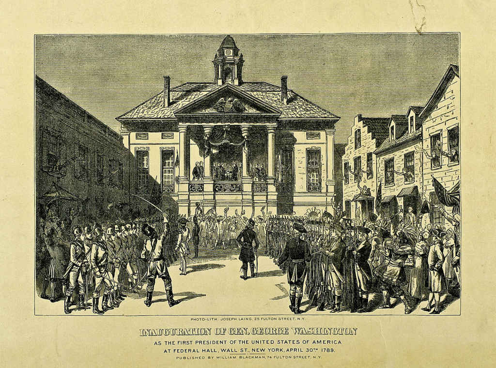 L'inauguration du premier président américain, George Washington, le 20 avril 1789 à New York. (Photo: lithographie de Joseph Laing (1828-1905) publiée par William Blackman, commons.wikimedia.org)