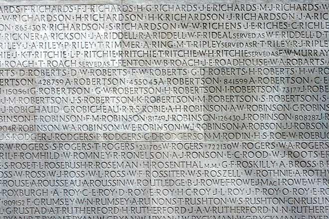Noms de Canadiens disparus lors de la Première Guerre mondiale.