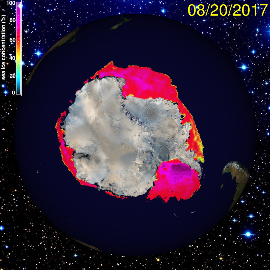 En rouge: les mers de glaces autour de l'Antarctique au 20 août 2017. À droite: la péninsule ouest du continent. (Image: University of Illinois)