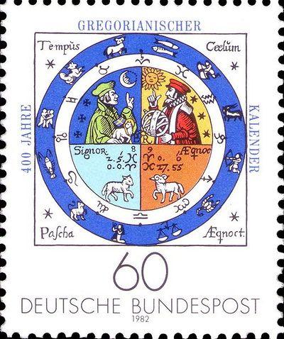 Timbre allemand émis pour les 400 ans du calendrier grégorien en 1982.
