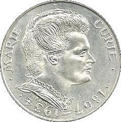 Une pièce d'argent commémorative de 100 francs.