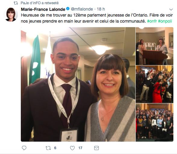 Tweet de Marie-France lalonde