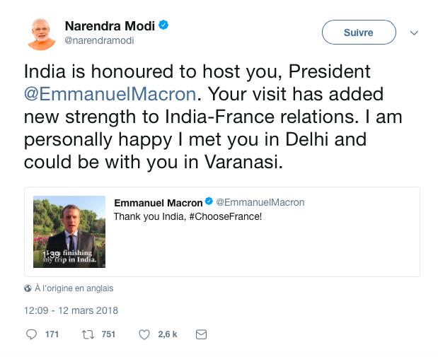 Tweet du Premier Ministre Indien
