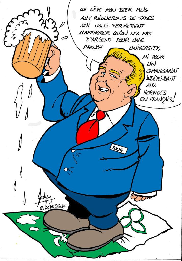 Le 6 décembre 2018, le gouvernement Ford faisait adopter la Loi visant à rétablir la confiance, la transparence et la responsabilité. Cette loi prévoyait des réductions de taxes et éliminait, entre autres, l'indépendance du Commissariat aux services en français