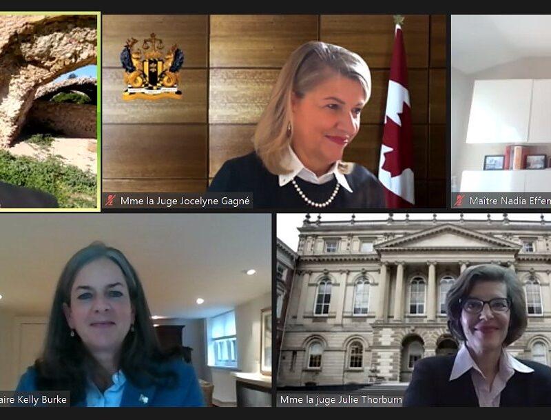 De gauche à droite, en haut: Maître Jean-Jacques Desgranges, membre du Conseil du Barreau de l'Ontario, la juge en chef adjointe Jocelyne Gagné (Cour fédérale) et Maître Nadia Effendi, présidente sortante de l'Association des juristes d'expression française de l'Ontario (AJEFO). En bas: la Commissaire aux services en français et Ombudsman adjointe de l'Ontario Kelly Burke et la juge Julie Thorburn (Cour d'appel de l'Ontario).