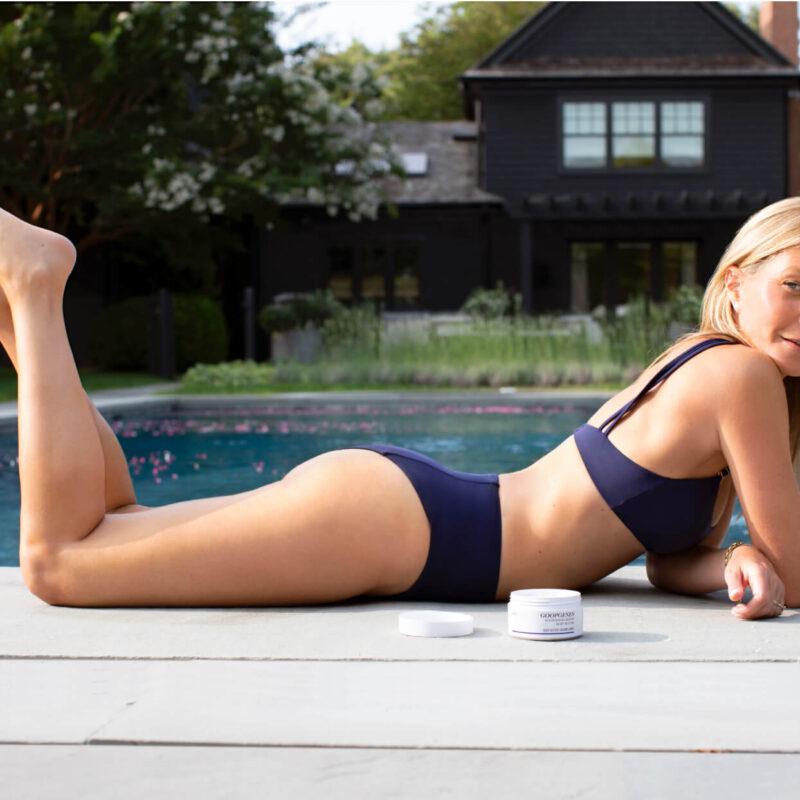 L'actrice Gwyneth Paltrow et un de ses produits Goop. Gwyneth Paltrow
