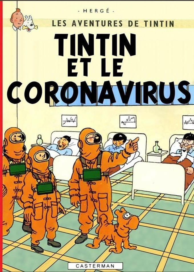Parodies de couvertures de Tintin coronavirus