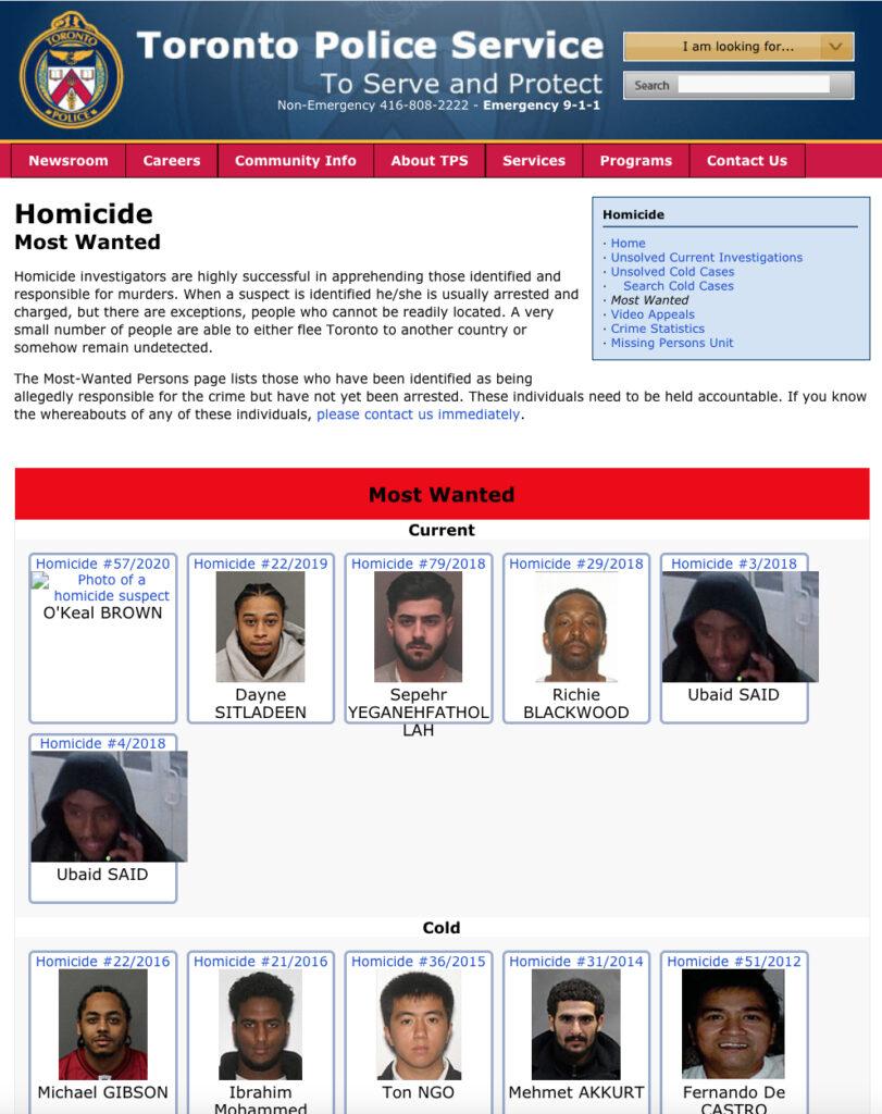 Criminels sur le site de la police de Toronto