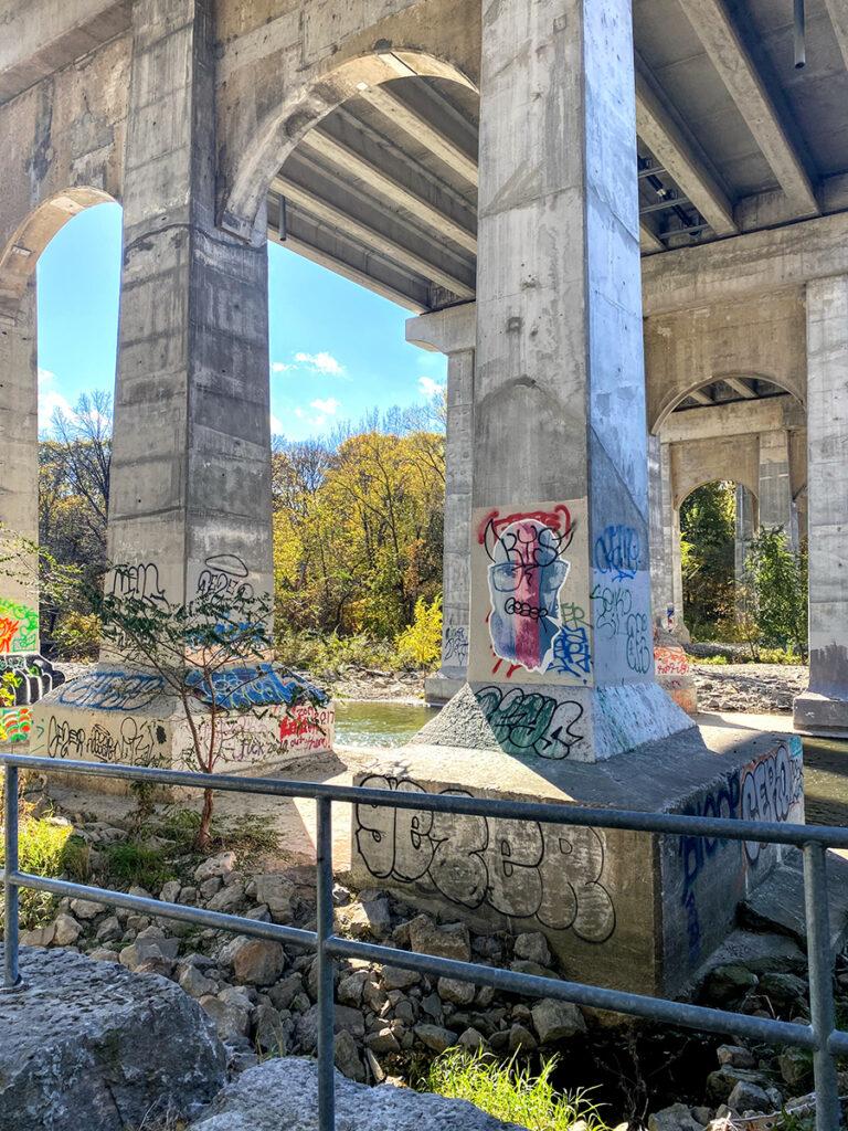 Humber River under Dundas West viaduct #torontourbanstrolls #32 in Toronto Best Urban Strolls by Nathalie Prezeau