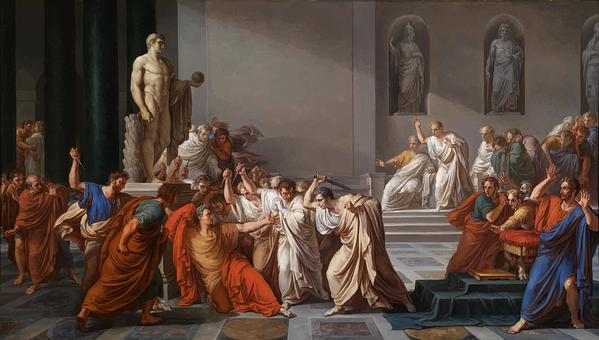 Tableau représentant l'assassinat de Jules César au Sénat à Rome en 44 avant Jésus-Christ