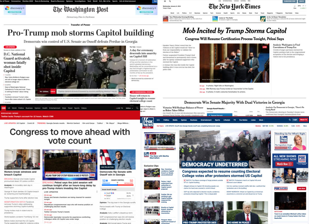 CNN, Fox News, New York Times, Washington Post