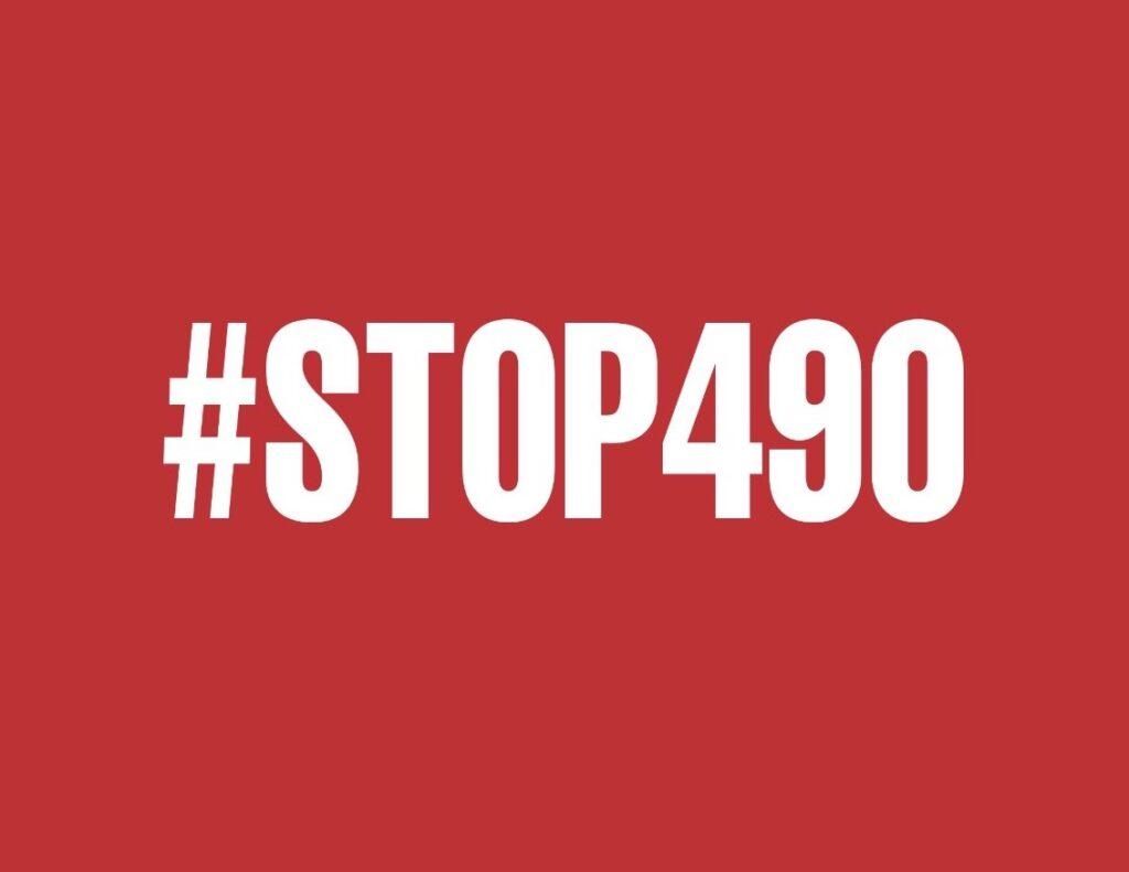 Le logo du collectif STOP490, blanc sur rouge