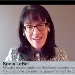 Club canadien Sonia LeBel francophonie canadienne