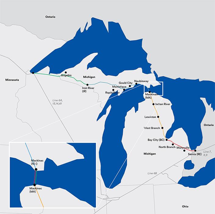 Oléoduc pétrole Grands Lacs Michigan Enbridge