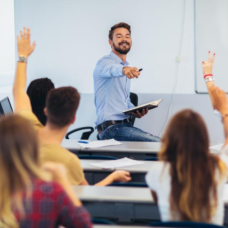 enseignant, classe, élèves
